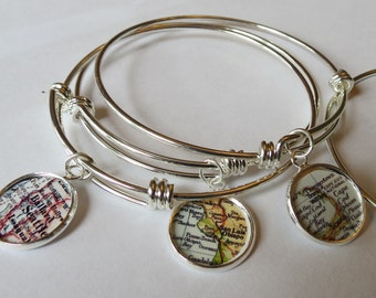 Bangle bracelet, gifts for Mom, Seattle map jewelry, grandma bracelet, mothers day gift, High School Grad, Cape Cod, personalized