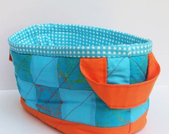 Turquoise and orange organizer. Free shipping. Quilted organizer. Patchwork basket.