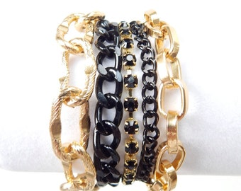 Black Statement Bracelet chunky chain bracelet gold statement jewelry crystal rhinestone ROYALS