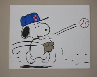 Snoopy Playing Baseball hand painted wall canvas for Nursery or bedroom