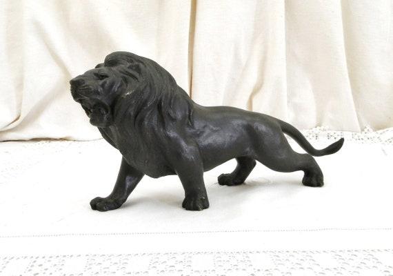 Antique Bronze Lion Sculpture, Cast Metal Art Statue of Wild African Animal, Dark Patina Japanese Style Meiji Period Bronze Figure Big Cat