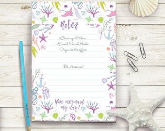 Mermaid My Day A5 Daily Organiser Notepad To Do List and Pencil Set