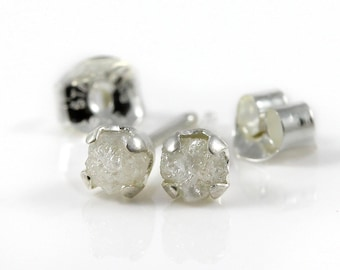 White Rough Diamond Studs - 4mm Post Earrings, Four Prongs - Raw Uncut Unfinished Diamonds on Silver Posts - Natural Conflict Free Diamonds