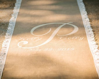 30 ft burlap runner with monogram and lovely lace border