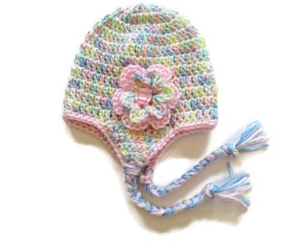 Ready To Ship -  Crochet Rainbow Earflap Hat Baby Girl - Pink Variegated Baby Girl Hat - Pink Earflap Baby Hat - Size 3 to 6 Months