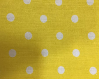 Yellow White Polka Dot Print Poly Cotton Print Fabric - Sold By The Yard -  59""