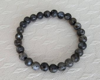 Natural BLACK MOONSTONE stretchy healing bracelet 6mm stacking beaded bracelet, intention stretchy bracelet - Intuition & Inner Knowing