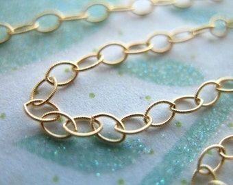 14k Gold Filled Chain, 10-20% less,Textured Flat Cable Chain, Oval Links, 3.5x2.3 mm, delicate jewelry chain MMGF..MGF7