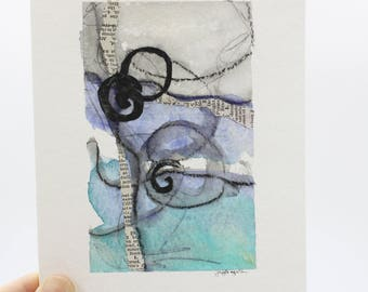 Mixed Media Collage Greeting Card, Hand painted Original painting on 5x7 card