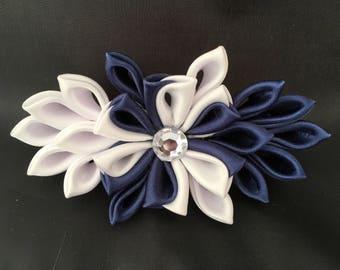 Blue and white kanzashi flower barrette clip