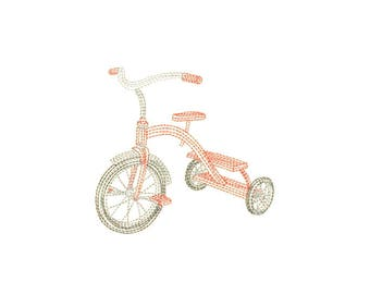 Open Stitch Tricycle Embroidery Design - Instant Digital Download
