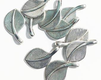 Bulk 100pcs of antique silver finished leaf charm 29x17mm, Zinc alloy leaf pendant, bulk antique silver leaf pendant