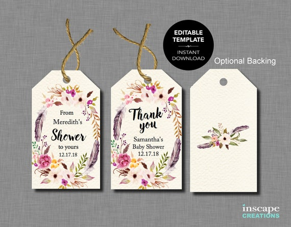 Free Printable Wedding Gift Tags Templates: Boho EDITABLE Baby Shower Favor Tags EDITABLE TEMPLATE From
