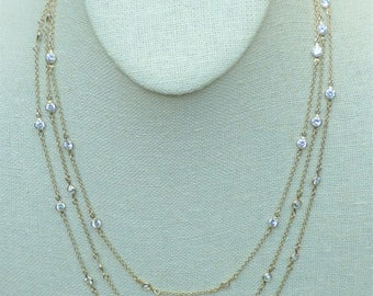 Clear Swarovski Crystals with Gold Filled Chain Triple Wrap Necklace
