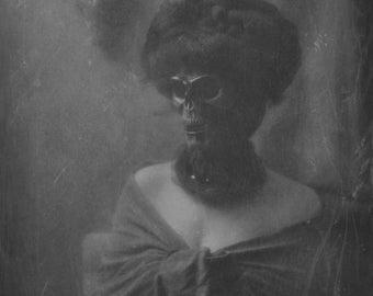 Portrait of a Lady 3 FREE SHIPPING Surreal Photo Print Creepy Portrait Dark Art Woman Death Face Skull Vintage Black & White Gray Wall Goth