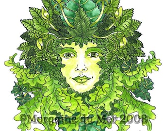 GreenWoman Earth Mother Goddess Print Pagan Fantasy Watercolour Pen and Ink Illustration Wall Art Nature Mythology Altar Decor