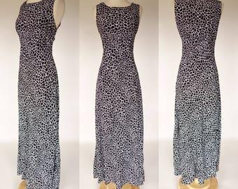 1990s rayon dress, black and white, all that jazz, sleeveless, empire waist, long, maxi, summer sundress, Large