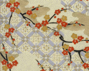 Chiyogami or yuzen paper - wispy plum branches with persimmon and gold blossoms, 9x12 inches