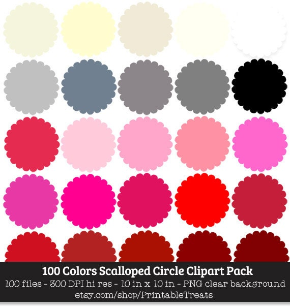 100 Colors Scalloped Circle Clipart Graphic Commercial