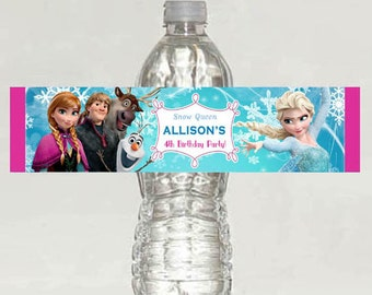 Personalized Disney Frozen water bottle Birthday party Printable