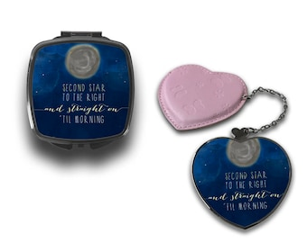 Second Star To The Right And Straight On Till' Morning Peter Pan Quote Compact Makeup Handbag Mirror CM113