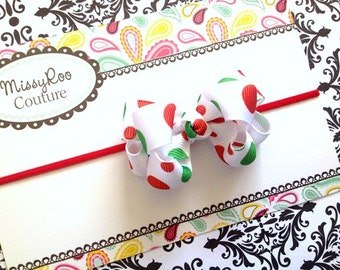 Baby Girl Christmas HairBow - Red / Green Double Layered on Skinny Headband - ALL SIZES New Born Headband Infant Hairbow Photo Prop