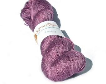 Hand dyed lace yarn, BFL/Silk Methera lace 'Raspberry'
