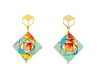 Origami Earrings; Origami Jewelry, Dangle Earrings; Origami; Anniversary; Japan; Handmade; Gift for Her; Paper; Choose Gold or Silver Plated