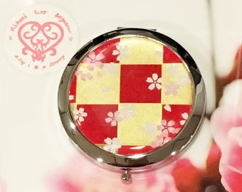 Gold and Red with blossoms Folding Compact Mirror