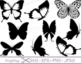 Silhouette Digital Clipart Butterflies, Clipart Butterflies SVG cutting files, Instant Download, Black Silhouette Clip art # 140
