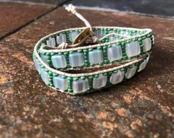 Tan Hemp and Sea Green and White Bead Double Wrap Bracelet, Wrap Bracelet, Hemp Bracelet, Beaded Bracelet, Beaded Wrap Bracelet