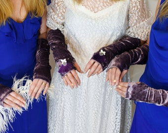 Purple fringe gloves Matching Bridesmaids Arm cuffs Velvet arm sleeves Arm warmers women  Tattoo covers Wedding arm sleeves Opera gloves