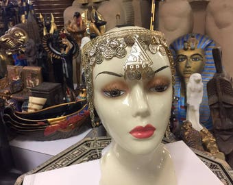 Vintage Egyptian   Silver Plated  Brass  Coin  Head  Piece one Size  Made In Egypt