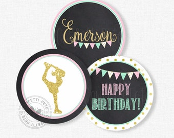 "Ice Skating Centerpiece Circles, Pink and Gold  Skating Birthday Decorations, Ice Skate Party Decorations, Printable 4"" Party Circles"