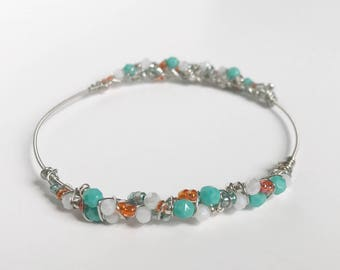 Silver Guitar String Bracelet, Aqua And Orangle Silver Beaded Bangle, Silver Bracelet, Gift For Her, Statement Bracelet, Wire Bangle