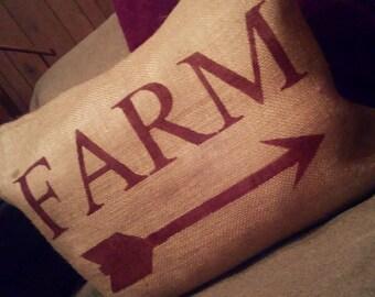 Farm Pillow, Farmhouse Pillow, Burlap Farm Pillow, Arrow Pillow, Country Primitive Pillow, Rustic Decor, Farm Decor, Burlap Pillow