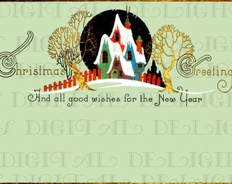 Elegant Cottages Vintage Art Deco Christmas Card. Vintage Illustration. Vintage Digital Christmas Card Download. Digital Christmas Download.
