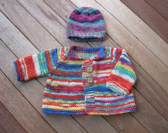 Knitting Pattern for Chunky Top Down Baby Jacket Hat PDF