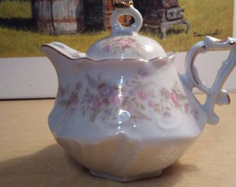 Lefton China Floral Themed Teapot Minty