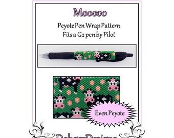 Bead Pattern Peyote(Pen Wrap/Cover)-Mooooo