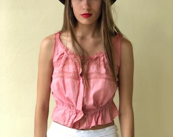 Antique Cropped Blouse / Pink Hand Dyed / Cotton Crop Top  / Camisole Summer Shirt /Haute Hippie Bohemian Blouse / Midriff Shirt / Lace Top