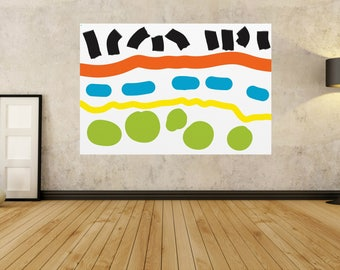 Large Abstract Painting Yellow Green Black White Orange Modern Painting Acrylic Painting canvas - Fine art HAND PAINTED 30 36 40 48 54 72