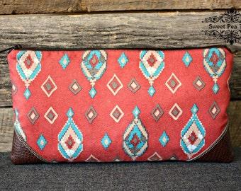 Southwestern Tribal Clutch / Zipper Closure