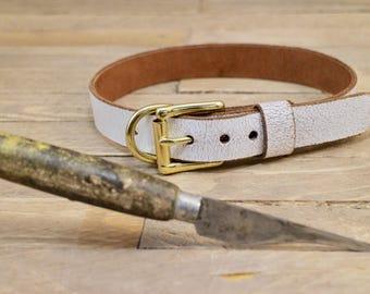 Handmade collar, Leather dog collar, FREE ID TAG, Custom leather collar, ''White desert'' collar, Solid brass hardware, Sturdy collar.