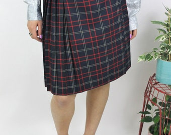 1990s Navy Pleated Check Skirt Size UK 12, US 8, EU 40