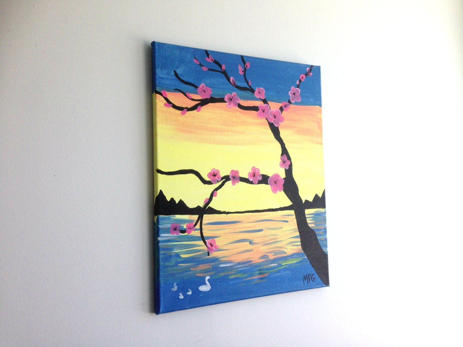 Tree Branch Painting Cherry Blossom Painting Tree and Sunset