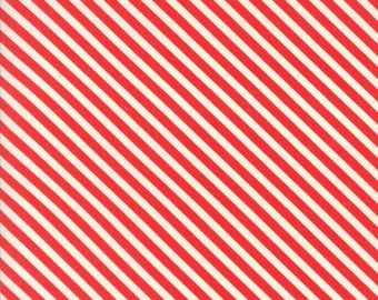 Handmade Candy Stripe Red by Bonnie and Camille for Moda, 1/2 yard cotton fabric