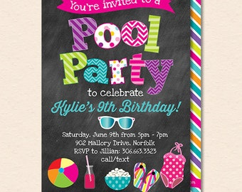 Pool Party Invitation - Summer Pool Party - Pool Birthday Party - Kids Pool Party - Chalkboard - Printable, Instant Download, Editable, PDF