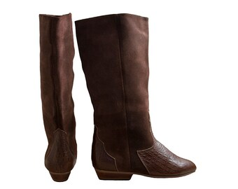 Brown Suede Pirate Boots, sz 5 - 6 NOS Deadstock