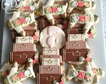 Travel Bridal Shower Engagement Wedding Anniversary Gold Cookies